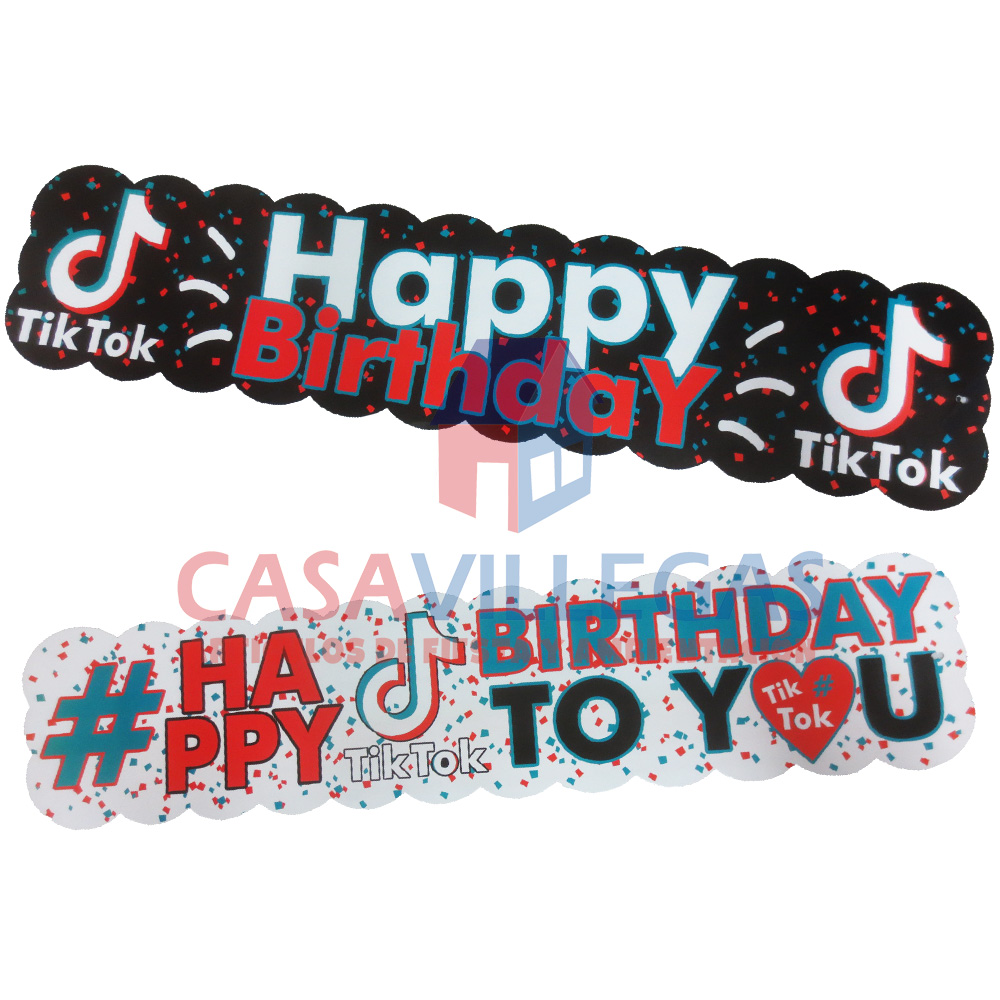 Banner Carton Happy Birthday Tik-Tok 1 pza.