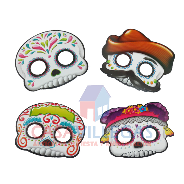 Antifaz Calaveritas Paq.4 pzas.