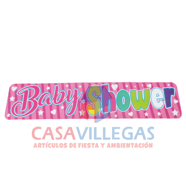 Banner De Carton Baby Shower Rosa 1 pza.